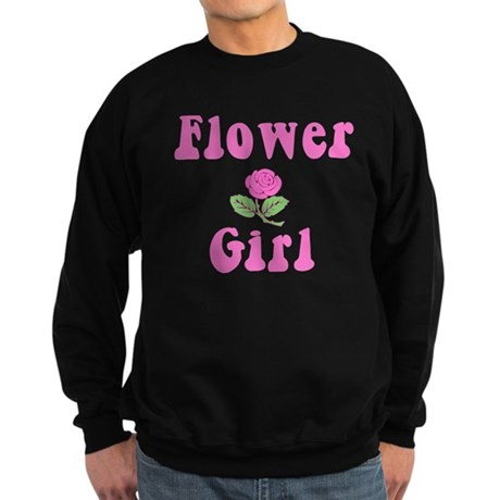 Flower Girl with Pink Rose Sweatshirt (dark)