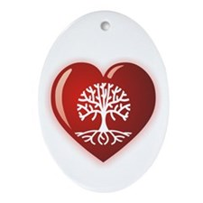 Heart Genealogy Oval Ornament