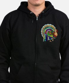 Patchwork Thanksgiving Turkey Zip Hoodie