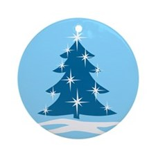 Blue Christmas Tree Ornament (Round)