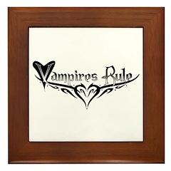 Vampires Rule B&W Mystic Framed Tile