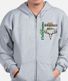 Half Fisherman. Half Hunter. Zip Hoodie