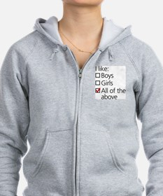 I Like Boys AND Girls Zip Hoodie