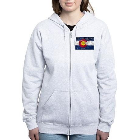 Colorado retro wash flag Women's Zip Hoodie