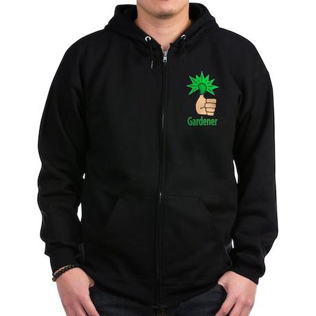 Green Thumb Gardener Zip Hoodie (dark)