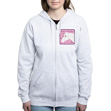 Breast Cancer, White Horse Women's Zip Hoodie