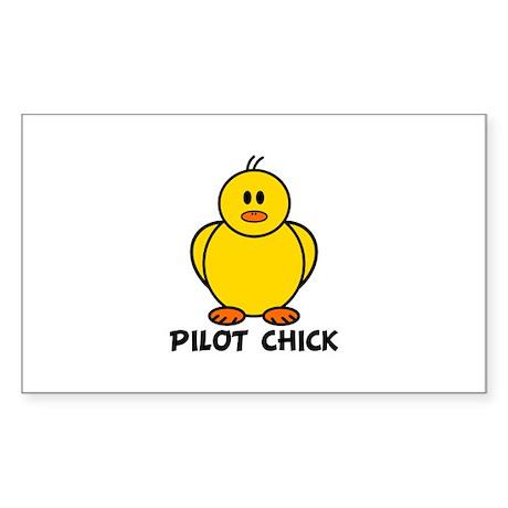 Pilot Chick Rectangle Sticker