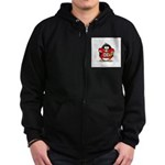 Red Football Penguin Zip Hoodie (dark)