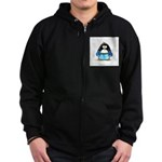 Blue Boxing Penguin Zip Hoodie (dark)