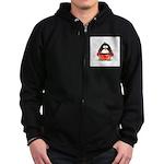 Red Boxing Penguin Zip Hoodie (dark)