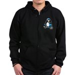 Blue Scooter Penguin Zip Hoodie (dark)