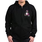 Pink Scooter Penguin Zip Hoodie (dark)
