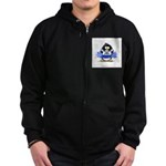 Blue CheerLeader Penguin Zip Hoodie (dark)