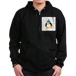 Clay Green Beanie Penguin Zip Hoodie (dark)