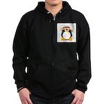 Sunflower Hat Clay Penguin Zip Hoodie (dark)