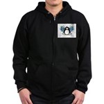 Blue Fairy Penguin Zip Hoodie (dark)