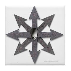 Chaos Sign Skull & Arrows Tile Coaster > Chaos Sign Skull ...