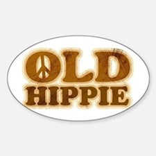 Old Hippie Peace Oval Decal