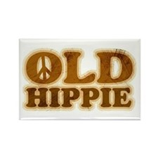 Old Hippie Peace Rectangle Magnet (100 pack)
