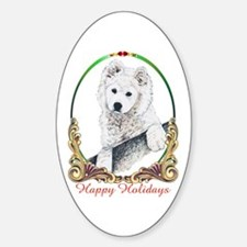 Samoyed Puppy Holiday Oval Decal