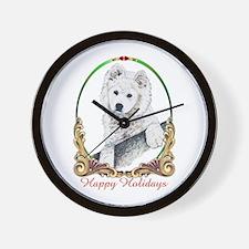 Samoyed Puppy Holiday Wall Clock