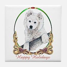 Samoyed Puppy Holiday Tile Coaster