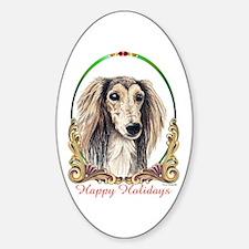 Saluki Happy Holidays Oval Decal