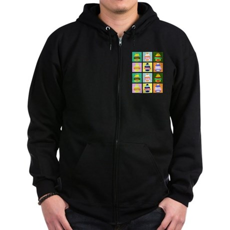 Pop Art Sock Monkey Zip Dark Hooded Sweatshirt