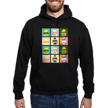 Pop Art Sock Monkey Dark Hooded Sweatshirt