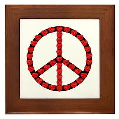 Peace Symbol Hearts Framed Tile