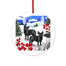 FRENCH BULLDOG DOG WINTER BERRIES Ornament (Round)