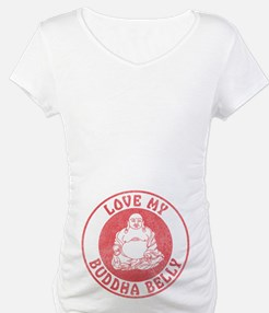 Red Love My Buddha Belly Maternity Shirt