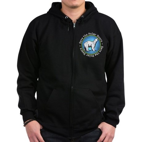 Save the Polar Bears Zip Hoodie (dark)