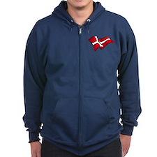 Flag of Denmark Zip Hoodie