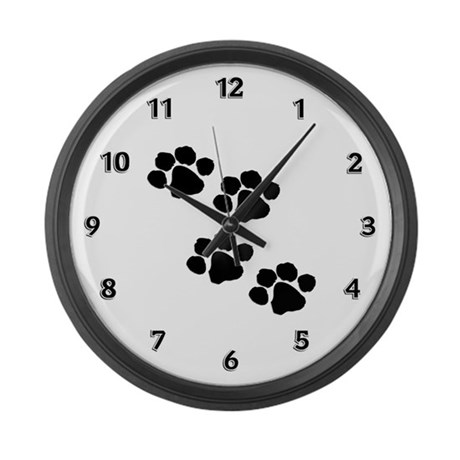 Pet Paw Prints Large Wall Clock