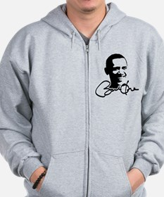 Obama Autographed Picture Zip Hoodie
