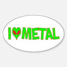 I Love-Alien Metal Oval Decal