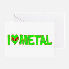 I Love-Alien Metal Greeting Card
