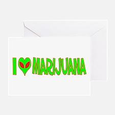 I Love-Alien Marijuana Greeting Card