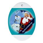 Santa Unchains Dog Oval Ornament