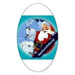 Santa Unchains Dog Oval Sticker