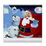 Santa Unchains Dog Tile Coaster
