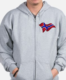 Norwegian flag of Norway Zip Hoodie