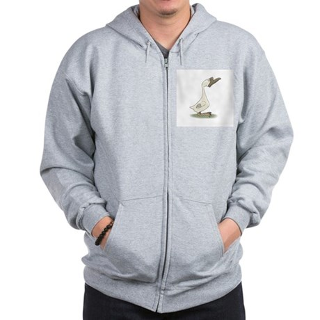 Silly White Goose Zip Hoodie