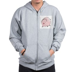 Silly Pot Belly Pig Zip Hoodie