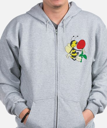 Happy Bee Sniffing A Rose Zip Hoodie