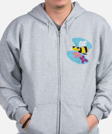 Happy Buzzing Bumble Bee Zip Hoodie