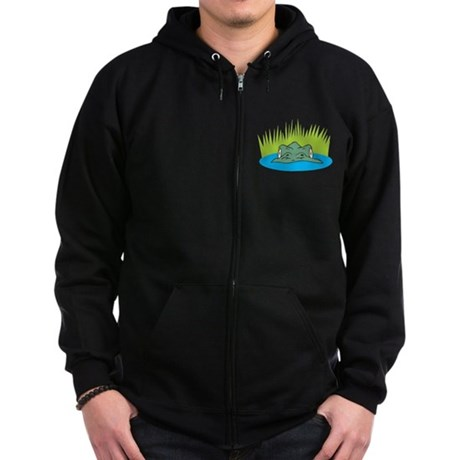 Crocodile Head in the Swamp Zip Hoodie (dark)
