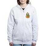 Silly Froggy in Pumpkin Women's Zip Hoodie