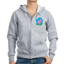 Cute Pig in the Sun Zip Hoodie